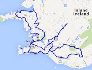 Route Ijsland overzicht